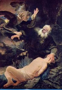 The Binding of Isaac as interpreted by the Dutch painter Rembrandt.